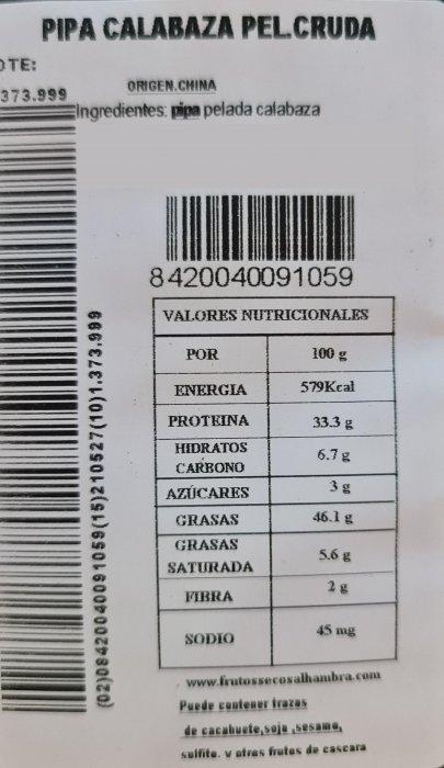 Pipas de Calabaza Peladas